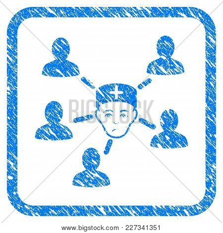Doctor Linked Patients Rubber Seal Stamp Watermark. Icon Vector Symbol With Grunge Design And Unclea