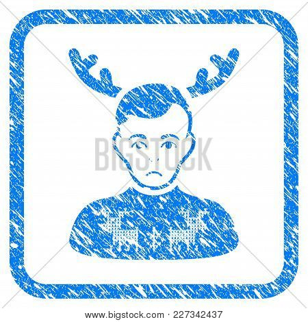 Deers Pullover Horned Husband rubber seal stamp imitation. Icon vector symbol with grunge design and dust texture in rounded square frame. Scratched blue sticker on a white background. poster