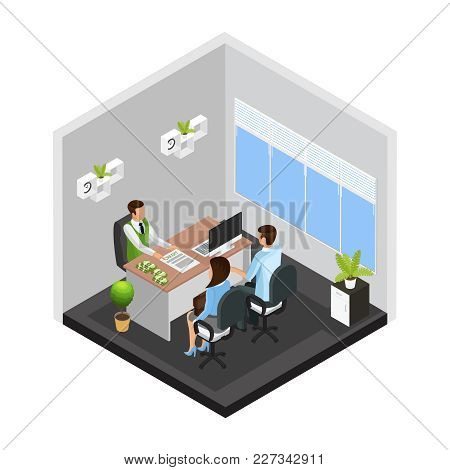 Isometric Credit Issue Template With Customers Talking With Manager About Getting Loan From Bank Iso