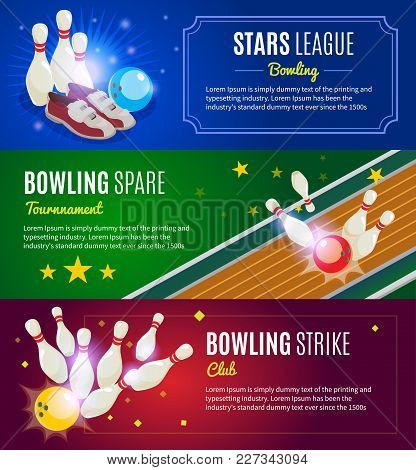 Isometric Colorful Bowling Horizontal Banners With Pins Sneakers Balls Lane Strike And Spare Vector