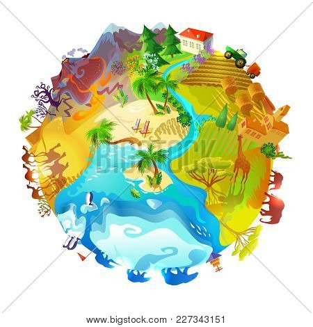 Cartoon Earth Planet Nature Concept With Animals Mountain Volcano Farming Arctic Desert Forest Savan
