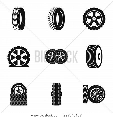 Tire Icons Set. Simple Set Of 9 Tire Vector Icons For Web Isolated On White Background