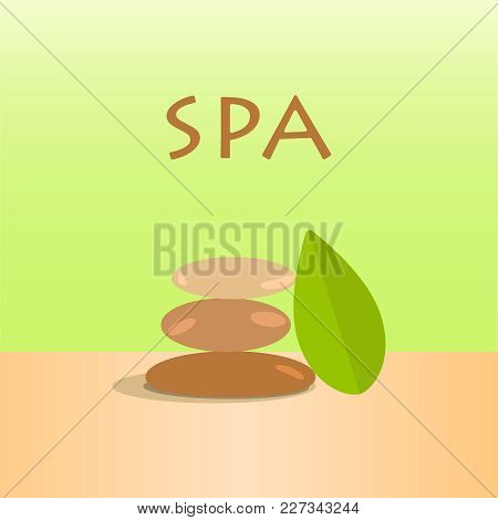 Vector Spa Stones And Green Leaves. Vector Stones. Spa Stones Vector Illustration Eps10