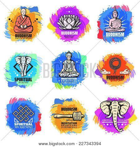 Vintage Buddhism Religion Emblems Set With Buddha Monk Lotus Flower Elephant Religious Rosary Beads