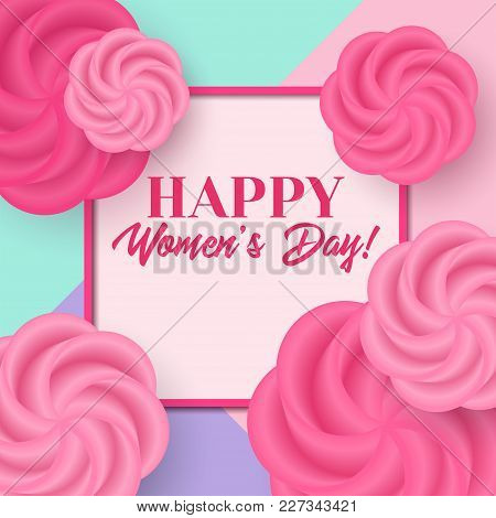 Women's Day Vector Greeting Card With Flowers