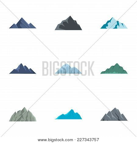 Hill Icons Set. Flat Set Of 9 Hill Vector Icons For Web Isolated On White Background