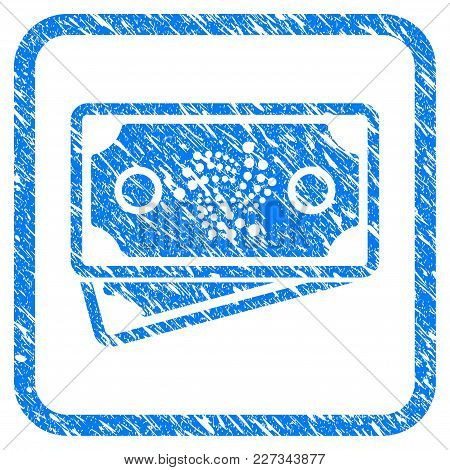 Iota Banknotes Rubber Seal Stamp Watermark. Icon Vector Symbol With Grunge Design And Dust Texture I