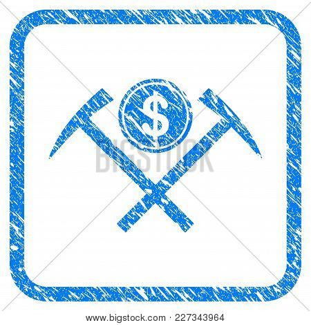 Dollar Mining Hammers Rubber Seal Stamp Watermark. Icon Vector Symbol With Grunge Design And Dust Te