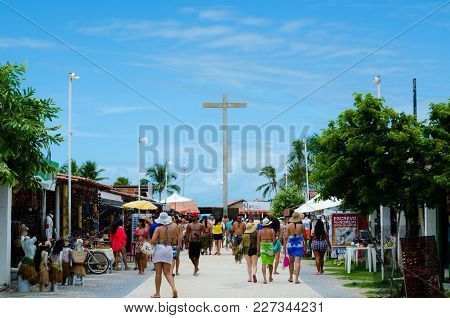 Porto Seguro, Bahia, Brazil - Febuary 11, 2018: View Of Handicraft Fair And In The Background The Cr