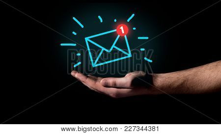 Hand Showing Email Concept And Massage Icon
