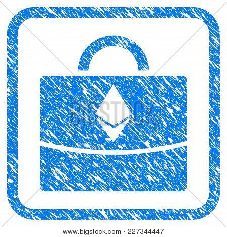 Ethereum Business Case Rubber Seal Stamp Watermark. Icon Vector Symbol With Grunge Design And Dust T