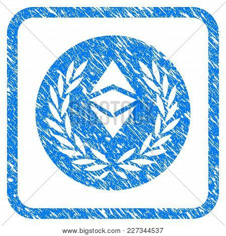 Ethereum Classic Laurel Coin Rubber Seal Stamp Imitation. Icon Vector Symbol With Grunge Design And