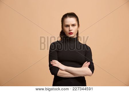 Serious Business Woman Standing, Looking At Camera Isolated On Trendy Pastel Studio Background. Beau