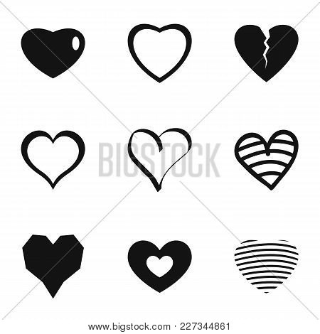 Little Heart Icons Set. Simple Set Of 9 Little Heart Vector Icons For Web Isolated On White Backgrou