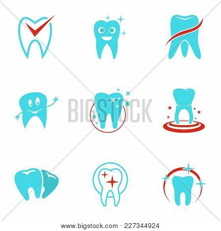 Dental Icons Set. Flat Set Of 9 Dental Vector Icons For Web Isolated On White Background
