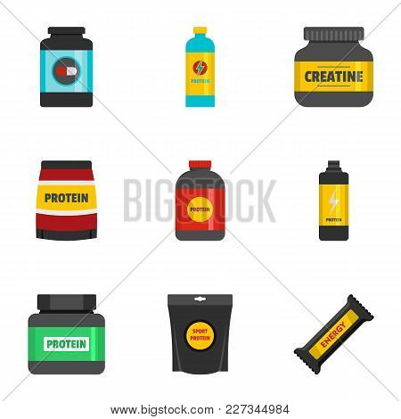 Sport Nutrition Icons Set. Flat Set Of 9 Sport Nutrition Vector Icons For Web Isolated On White Back