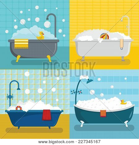 Bathtub Foam Shower Banner Concept Set. Flat Illustration Of 4 Bathtub Foam Shower Vector Banner Hor