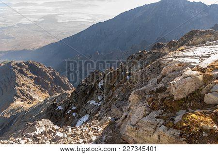 Climbers On The Lomnica Ridge.  Tatra Mountains. Slovakia .