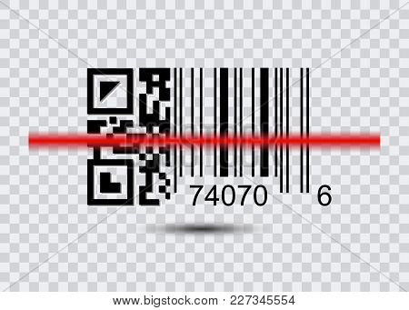 Sample Bar Codes And Qr Code For Scanning Icon With Red Laser, Vector Illustration Isolated