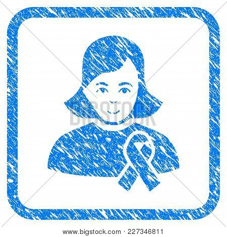 Girl With Sympathy Ribbon Rubber Seal Stamp Imitation. Icon Vector Symbol With Grunge Design And Unc