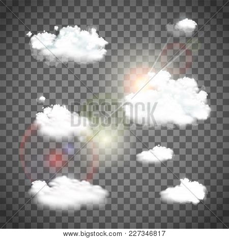 Set Of Natural Clouds On A Transparent Background. Stock Vector Illustration.