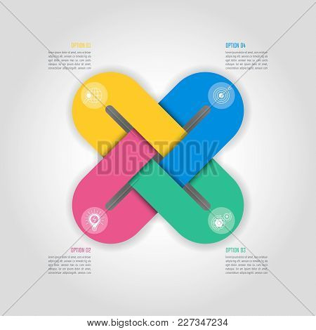 Infographic Design Business Concept With 4 Options, Parts Or Processes.