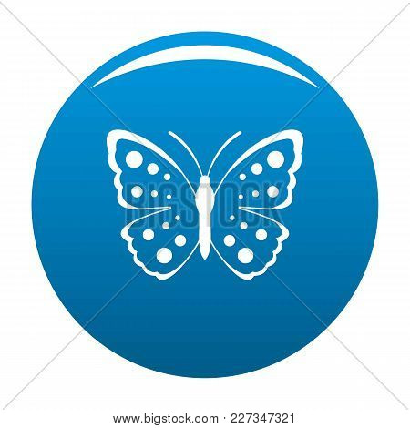 Spring Butterfly Icon Vector Blue Circle Isolated On White Background