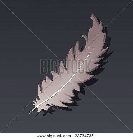 Game Icon Of Feather In Cartoon Style. Bright Design For App User Interface. Component For Magic, Sp
