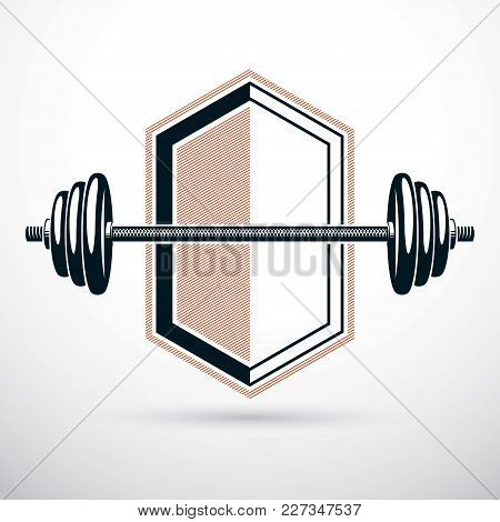 Barbell Vector Illustration Isolated On White. Weight-lifting Gym Symbol.