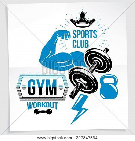 Gym Advertising Poster. Vector Composition Created Using Athletic Sportsman Biceps Arm With Disc Wei