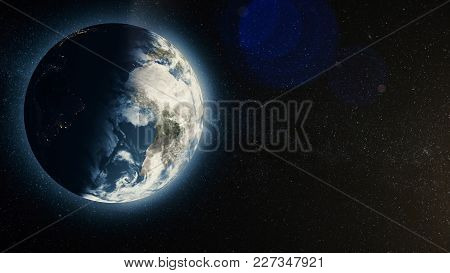 Planet Earth With Sunrise In Space, Rising Sun Over Earth. Earth Planet.