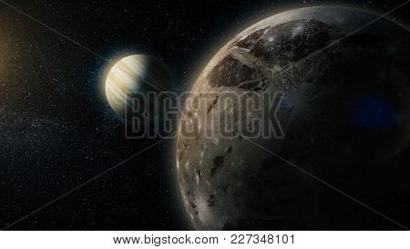 Solar System Named In English. Europe The Moon Of Jupiter.