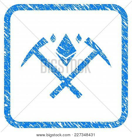 Ethereum Crystal Mining Hammers Rubber Seal Stamp Imitation. Icon Vector Symbol With Grunge Design A