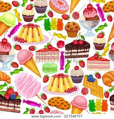 Vector Seamless Pattern With Confectionery And Sweets Icons. Dessert, Lollipop, Ice Cream With Candi