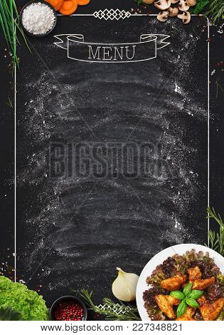 Design Concept For Restaurant Meat And Grill Menu Mockup. Black Rustic Chalkboard With White Inscrip