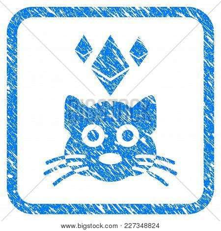 Ethereum Crypto Kitty Rubber Seal Stamp Imitation. Icon Vector Symbol With Grunge Design And Dirty T