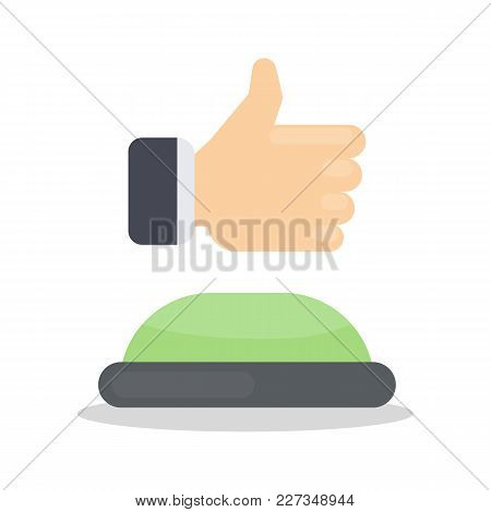 Green Like Button With Thumbs Up On White.