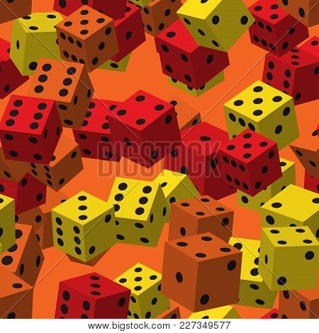 Color Dice Seamless Pattern On Orange Background