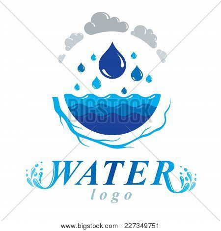 Pure Water Vector Abstract Logotype For Use In Mineral Water Advertising. Living In Harmony With Nat