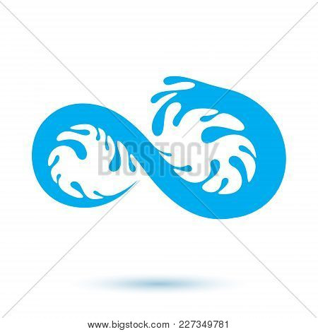 Vector Blue Clear Water Drop Icon For Use In Mineral Water Advertising. Human And Nature Harmony Con