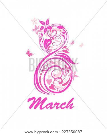 Greeting card for 8 March with decorative pink floral number 8