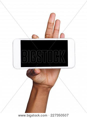 African-american Female Hand Holding Mobile Smart Phone With Blank Screen, Isolated On White Backgro