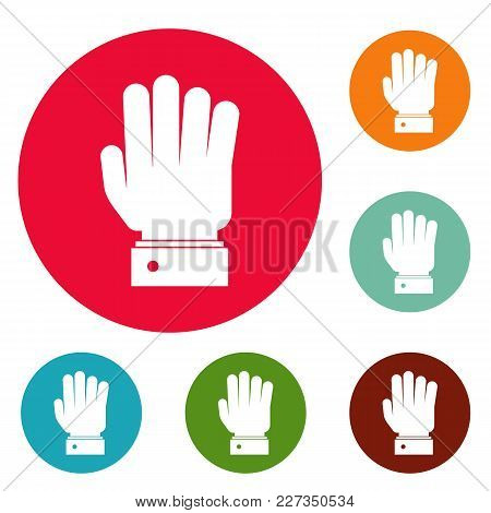 Hand Stop Icons Circle Set Vector Isolated On White Background