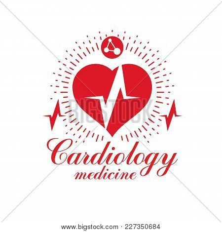 Cardiology Vector Conceptual Logo Created With Red Heart Shape And An Ecg Chart. Cardiovascular Illn