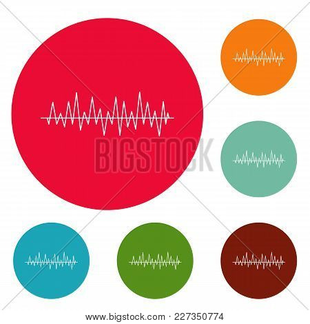 Equalizer Beat Icons Circle Set Vector Isolated On White Background
