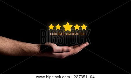 Hand Show Five Star On Black Background