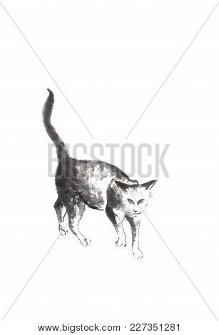 Walking Cat Japanese Style Original Sumi-e Ink Painting. Great For Greeting Cards Or Texture Design.