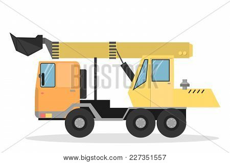 Isolated Yellow Excavator For Construction Works On White.