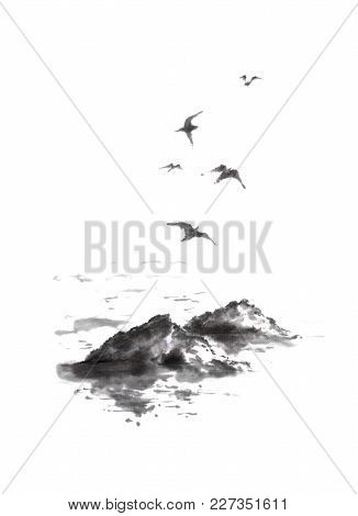 Flying Sea Gulls And Rocks Japanese Style Original Sumi-e Ink Painting. Great For Greeting Cards Or