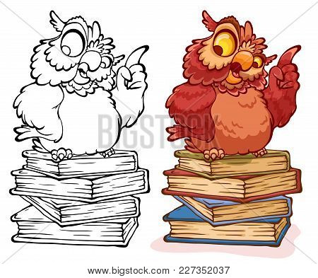 Wise Owl Teacher Sitting On A Stack Of Colorful Books. Cartoon Characters. Vector Illustration.